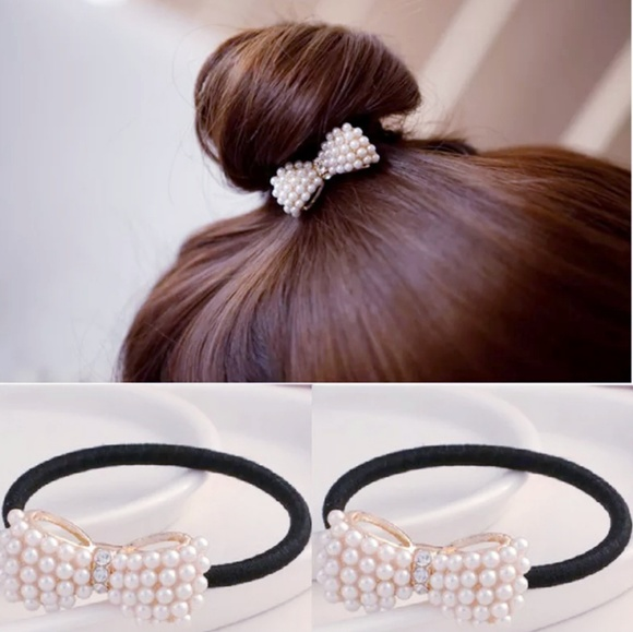 Hair Band Metal Bow Pearly Rhinestones Ponytail